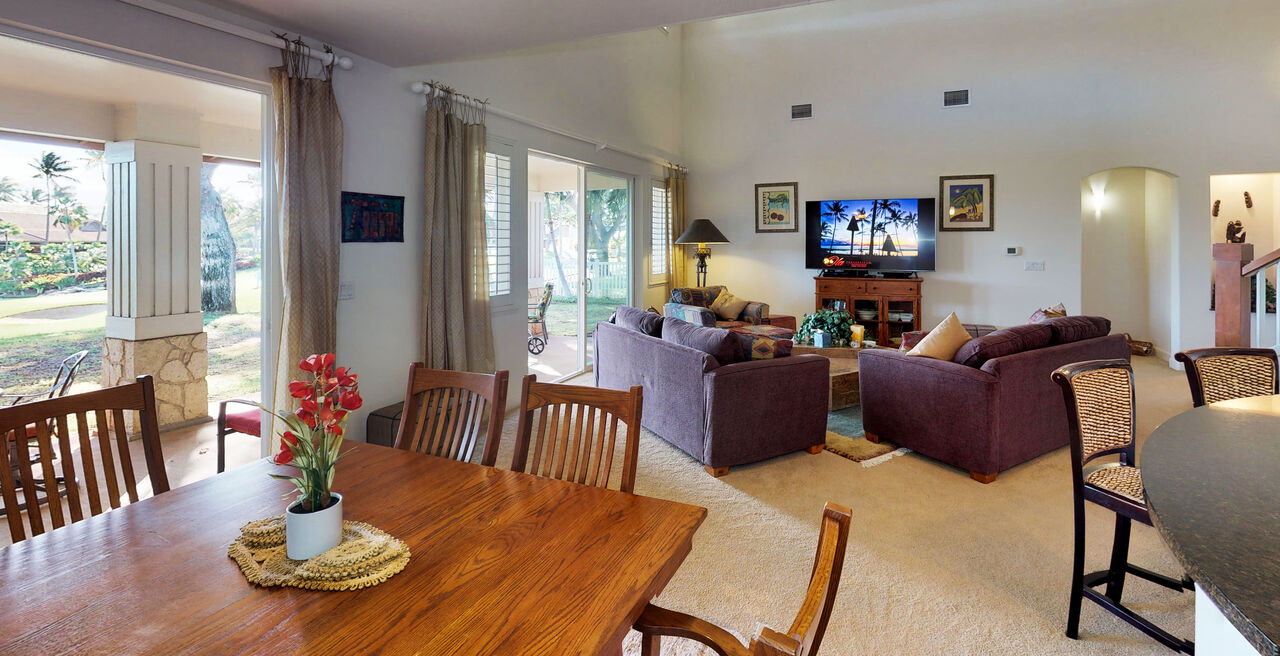 Dining Set and Living Area of Our Oahu Vacation Rentals for Large Groups.