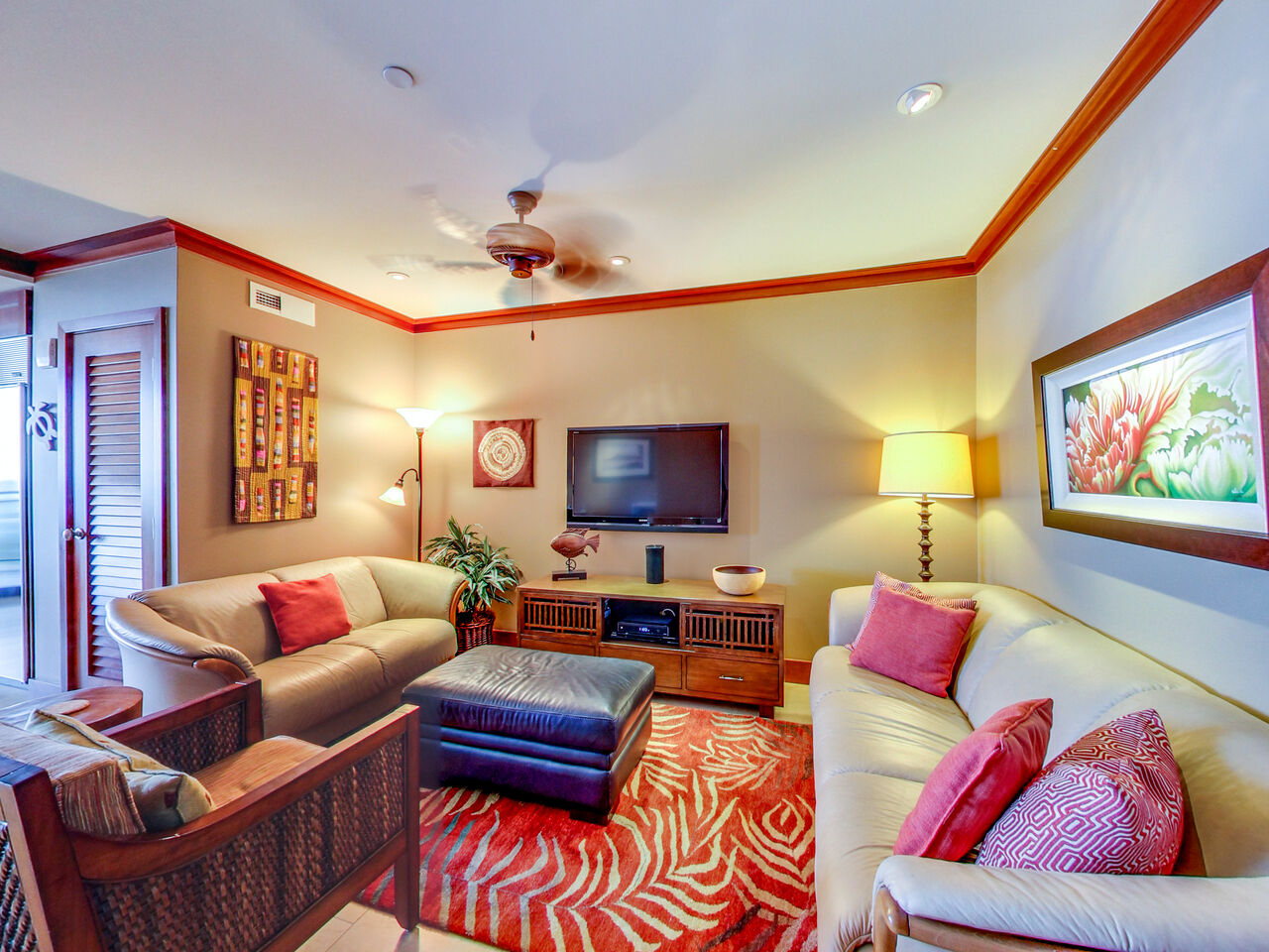 Living Room with TV in Our 1-Bedroom for Rent in Oahu.