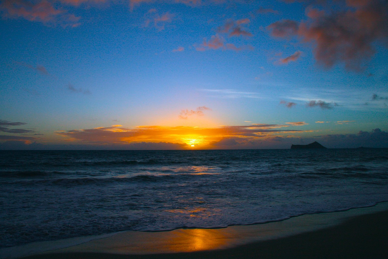 Sunset on the beach in Oahu